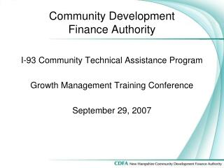 Community Development Finance Authority