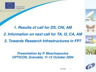 1. Results of call for DS, CNI, AM 2. Information on next call for TA, I3, CA, AM