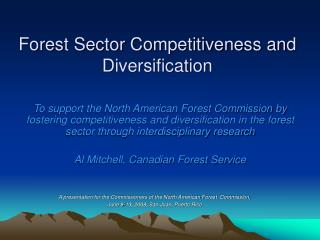 Forest Sector Competitiveness and Diversification
