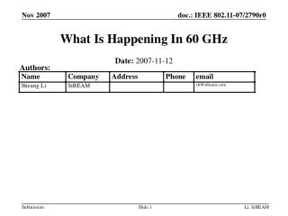 What Is Happening In 60 GHz