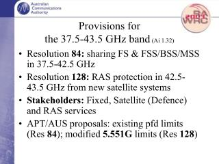 Provisions for the 37.5-43.5 GHz band  (Ai 1.32)