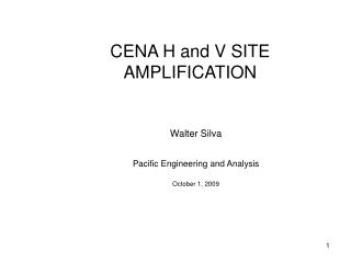 CENA H and V SITE AMPLIFICATION