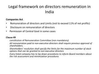 Legal framework on directors remuneration in India