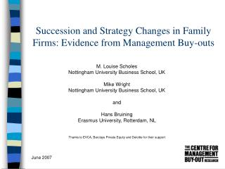 Succession and Strategy Changes in Family Firms: Evidence from Management Buy-outs
