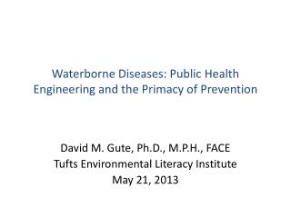 David M. Gute, Ph.D., M.P.H., FACE Tufts Environmental Literacy Institute May 21, 2013