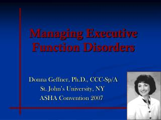 Managing Executive Function Disorders