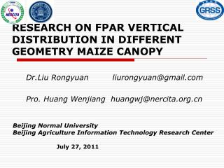 RESEARCH ON FPAR VERTICAL DISTRIBUTION IN DIFFERENT GEOMETRY MAIZE CANOPY