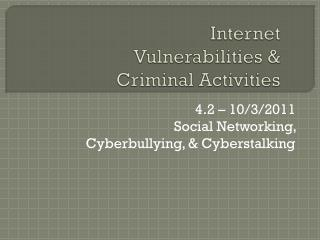 Internet Vulnerabilities & Criminal Activities
