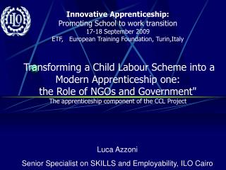 Luca Azzoni Senior Specialist on SKILLS and Employability,  ILO Cairo
