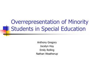 Overrepresentation of Minority Students in Special Education