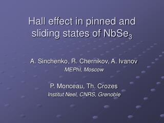 Hall effect in pinned and sliding states of NbSe 3