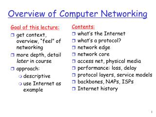 Overview of Computer Networking