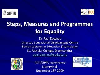 Steps, Measures and Programmes for Equality