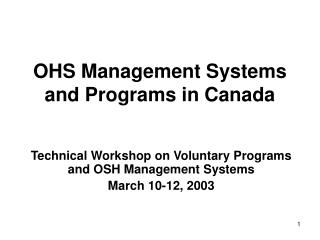 OHS Management Systems and Programs in Canada