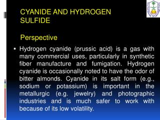 CYANIDE AND HYDROGEN SULFIDE  Perspective