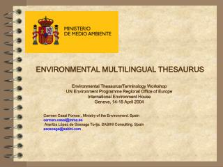 ENVIRONMENTAL MULTILINGUAL THESAURUS