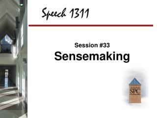 Session #33 Sensemaking