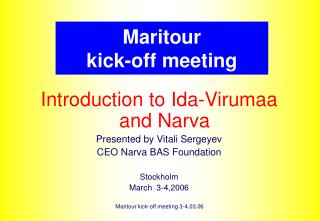 Maritour  kick-off meeting