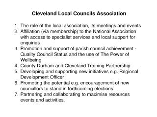 Cleveland Local Councils Association The role of the local association, its meetings and events