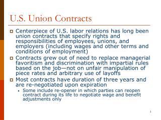 U.S. Union Contracts