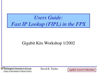 Users Guide: Fast IP Lookup (FIPL) in the FPX