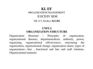Functional Areas Unit 2: Organizational Structure
