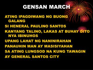 GENSAN MARCH