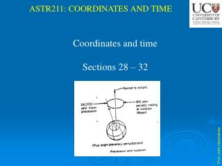 Coordinates and time Sections 28  – 32