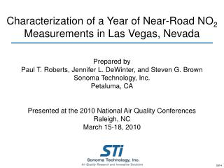 Characterization of a Year of Near-Road NO 2  Measurements in Las Vegas, Nevada