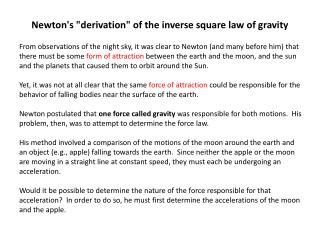 "Newton's ""derivation"" of the inverse square law of gravity"