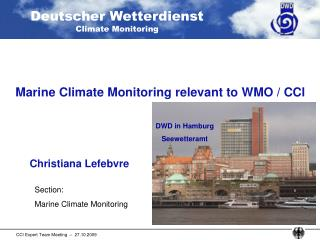 Marine Climate Monitoring relevant to WMO / CCl