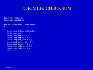 TC KIMLIK CHECKSUM