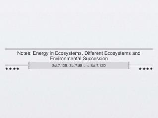 Notes: Energy in Ecosystems, Different Ecosystems and Environmental Succession