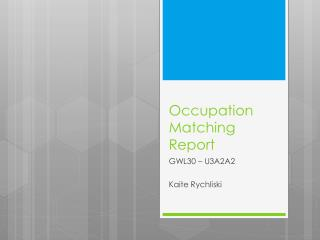 Occupation Matching Report