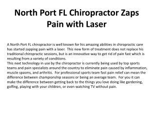 North Port FL Chiropractor Zaps Pain with Laser