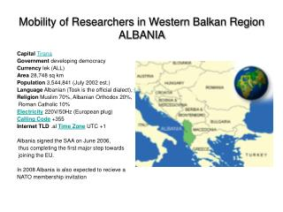 Mobility of Researchers in Western Balkan Region ALBANIA
