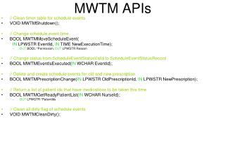 MWTM APIs