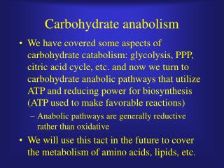 Carbohydrate anabolism