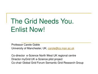 The Grid Needs You.  Enlist Now!