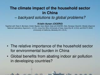 The climate impact of the household sector  in China – backyard solutions to global problems?
