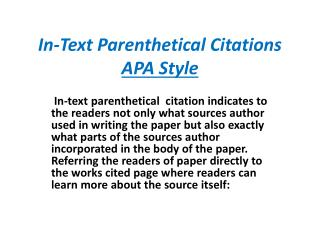In-Text Parenthetical Citations APA Style