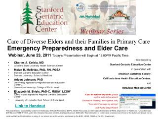 Care of Diverse Elders and their Families in Primary Care  Emergency Preparedness and Elder Care
