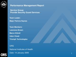 Performance Management Report Service Group:   Provide Security Guard Services
