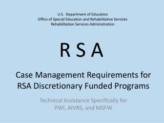 Case Management Requirements for RSA Discretionary Funded Programs