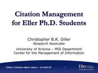 Citation Management for Eller Ph.D. Students