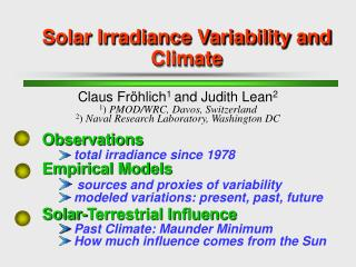 Solar Irradiance Variability and Climate