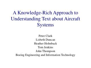 A Knowledge-Rich Approach to Understanding Text about Aircraft Systems