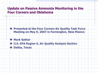 Update on Passive Ammonia Monitoring in the Four Corners and Oklahoma