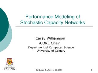 Performance Modeling of Stochastic Capacity Networks