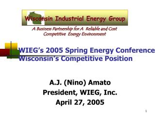 WIEG's 2005 Spring Energy Conference  Wisconsin's Competitive Position